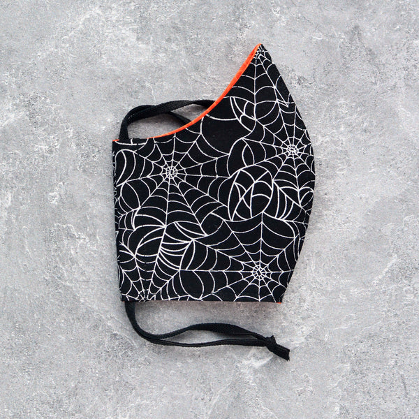 Cotton Face Mask - Silver Spiderwebs - Choose Your Size