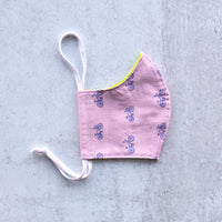 Kid's Lavender Bikes - Cloth Face Mask - Small/Age 7-12 Size