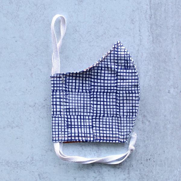 Kid's Navy Grid - Cloth Face Mask - Small/Age 7-12 Size