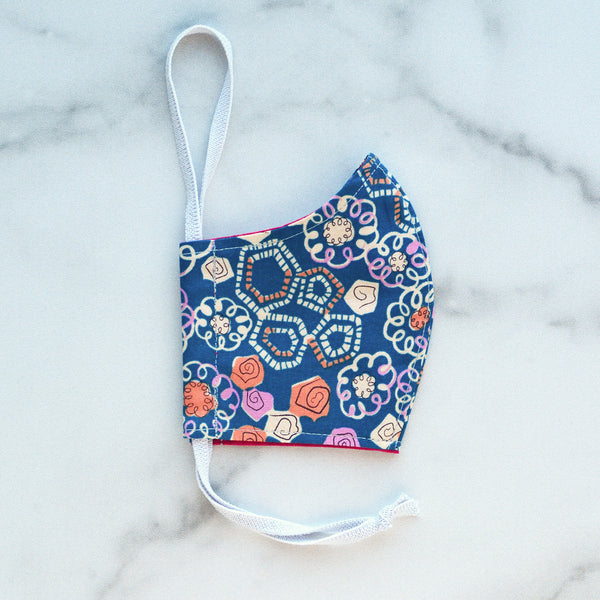 Kid's XS Cotton Face Mask - Navy & Purple Calico Age 3-6