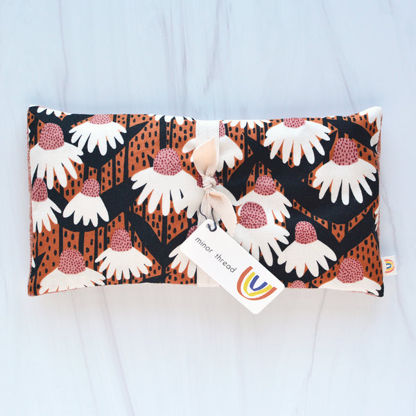 Oversized Eye Pillow in Terracotta Floral and Linen