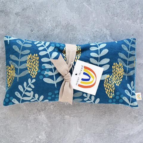 Fern Dell in Azure & Gold Oversized Eye Pillow