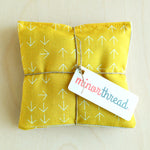 Mustard Yellow Arrows & Linen Organic Lavender Sachet Set