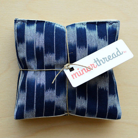 Organic Lavender Sachets in Navy Ikat