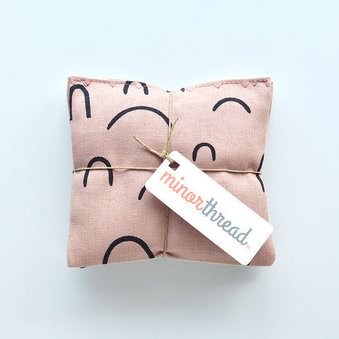 Organic Lavender Sachets in Arroyo AOU in Rose Pink and Natural Linen Set of 2