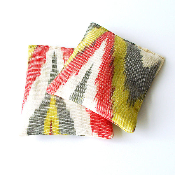Ikat Cotton Organic Lavender Sachets Set of 2 Yellow Grey Red Ikat Fabric