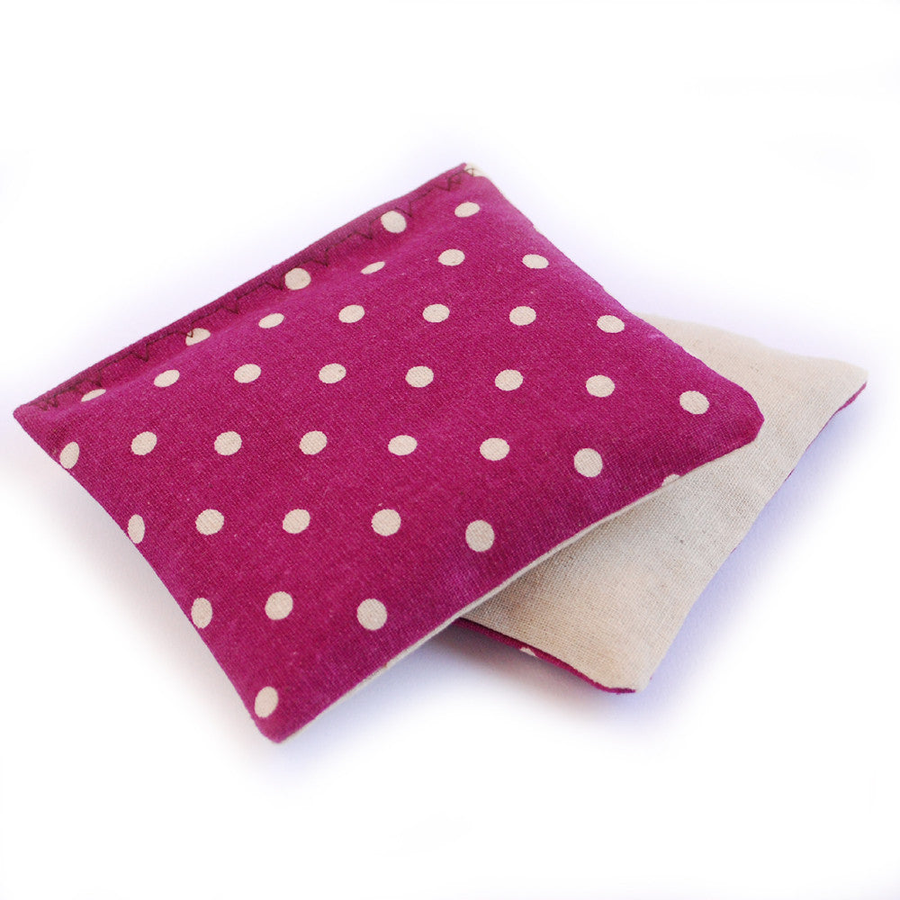 Organic Lavender Sachets in Magenta Dot & Linen - Set of 2