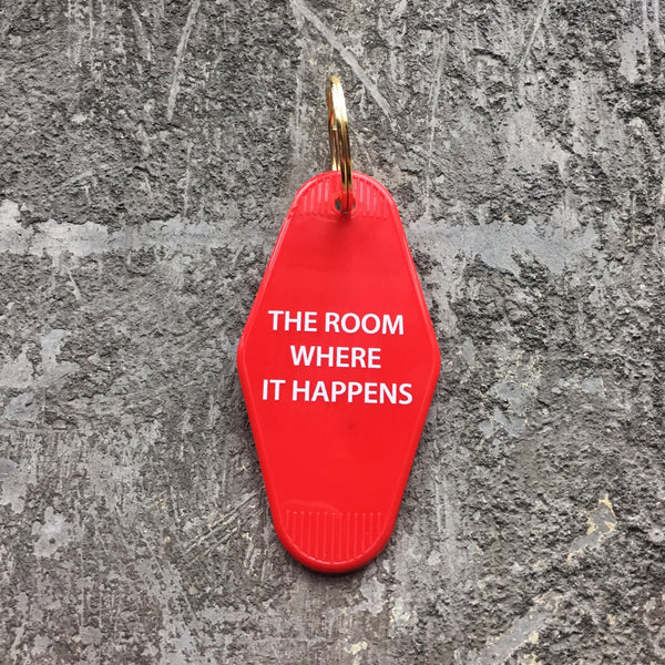 The Room Where It Happens Hotel Key Tag in Red