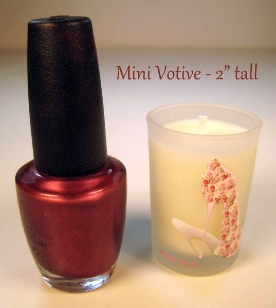 Mini votive candle with pink roses stilettos. Gifts for shoe lovers.