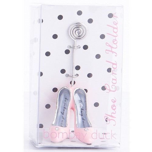 Place card holders with stiletto shoes. Place card setting holders for shoe lovers.