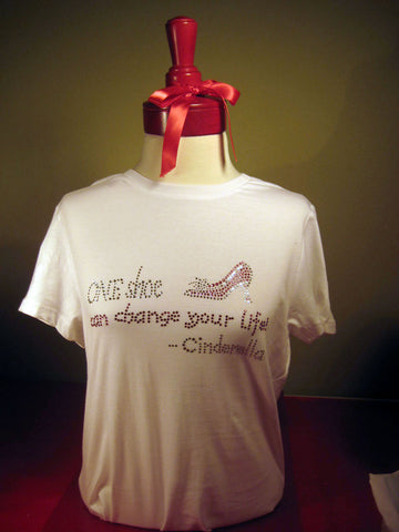 Cinderella shoe t-shirt. T-shirt gifts for shoe lovers.