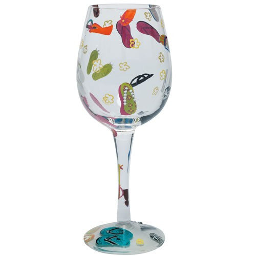 Wine glass with flip flops. Wine glass gifts for shoe lovers.