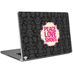 Laptop skins with peace, love, shoes. Gifts for shoe lovers from shoewares.com
