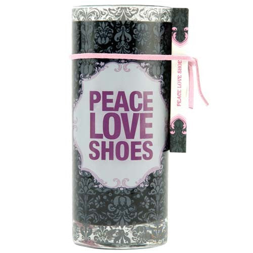 juice glass filled canlde with peace love shoes. candle gifts for shoe lovers.