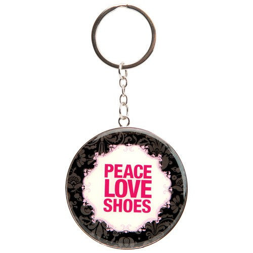 Keychain with peace, love, and shoes. Gifts for shoe lovers.