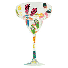 Margarita glass with handpainted flip flops. Gifts for shoe lovers.