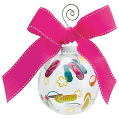 Glass ball ornament with handpainted flip flops. Gifts for shoe lovers.