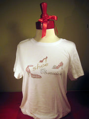 Shoe obsessions tee shirt. T-shirt gifts for shoe lovers.