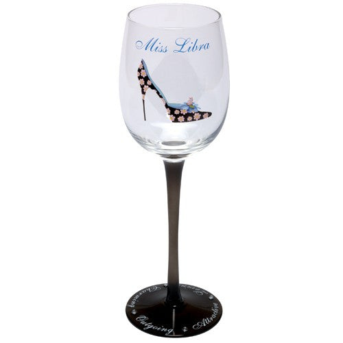 Astrology sign wine glass with stiletto shoes. Wine glasses for shoe lovers.