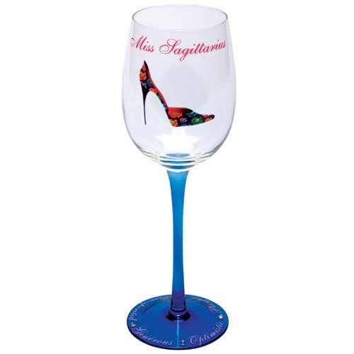 Astrology sign wine glasses with stiletto shoes. Gifts for shoe lovers.