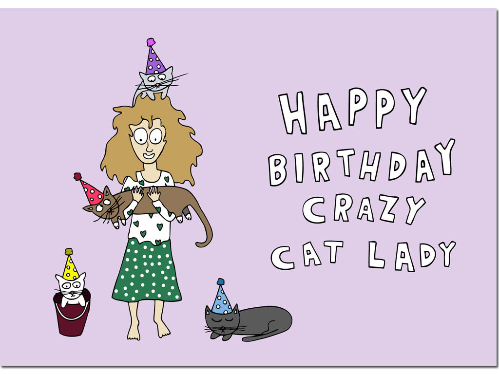 Crazy cat lady card hello lemon awesome greeting cards crazy cat lady card m4hsunfo