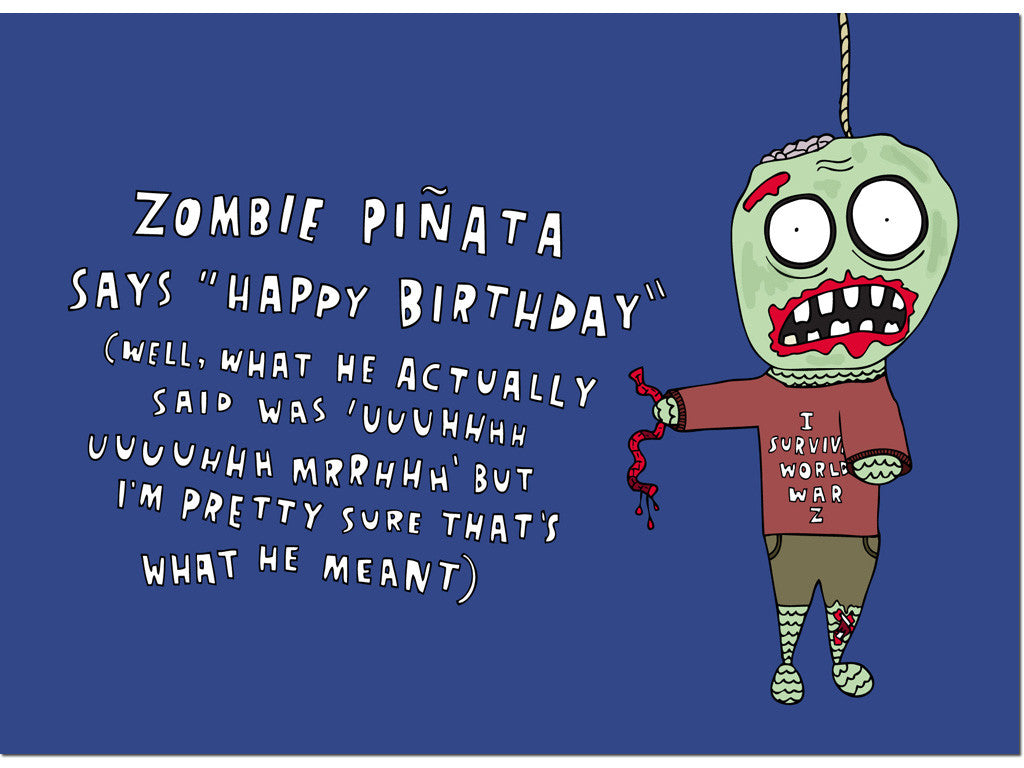 Zombie pinata card hello lemon awesome greeting cards journals zombie pinata card m4hsunfo