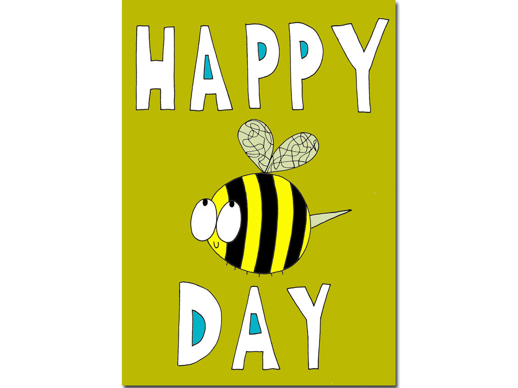 Happy bee day card hello lemon awesome greeting cards journals funny original birthday card m4hsunfo