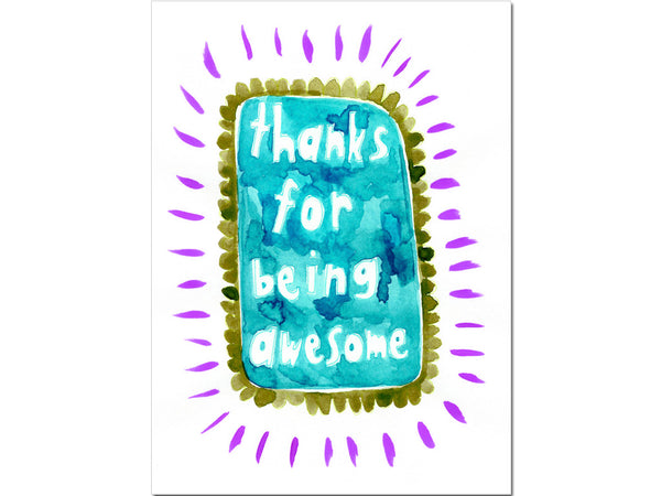 Thank you greeting card -Thanks for being awesome