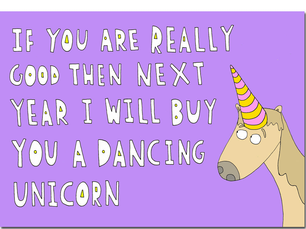 Dancing unicorn card hello lemon awesome greeting cards funny birthday greeting card bookmarktalkfo Choice Image
