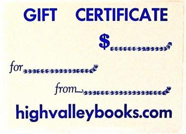 Gift Cards from High Valley Books...in various amounts