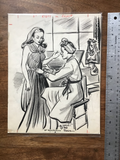 original ink drawing of Madame Gres at work