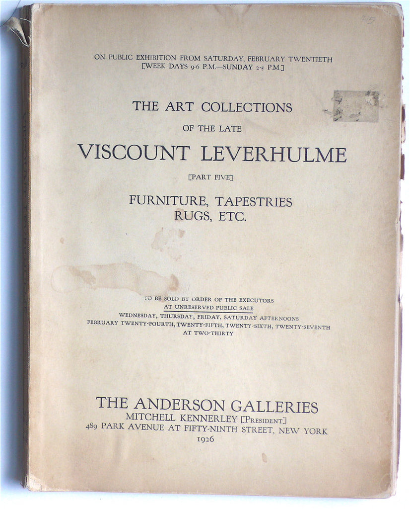 The Art Collections of the Late Viscount Leverhulme [Part Five]