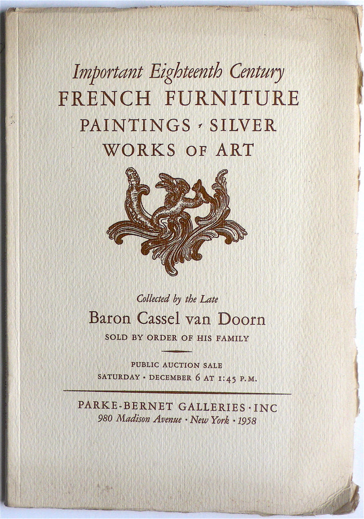 Important Eighteenth Century  French Furniture/ Paintings/ Silver/ Works of Art