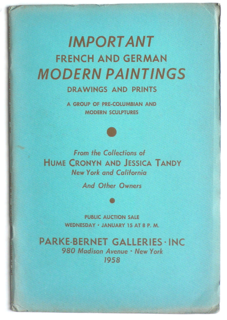 Important French and German Modern Paintings Drawings and Prints