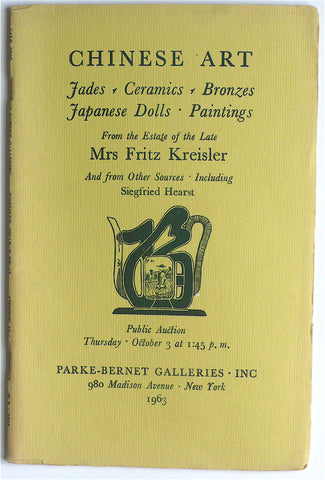 Chinese Art/ From the Estate of the Late Mrs Fritz Kreisler/ Siegfried Hearst