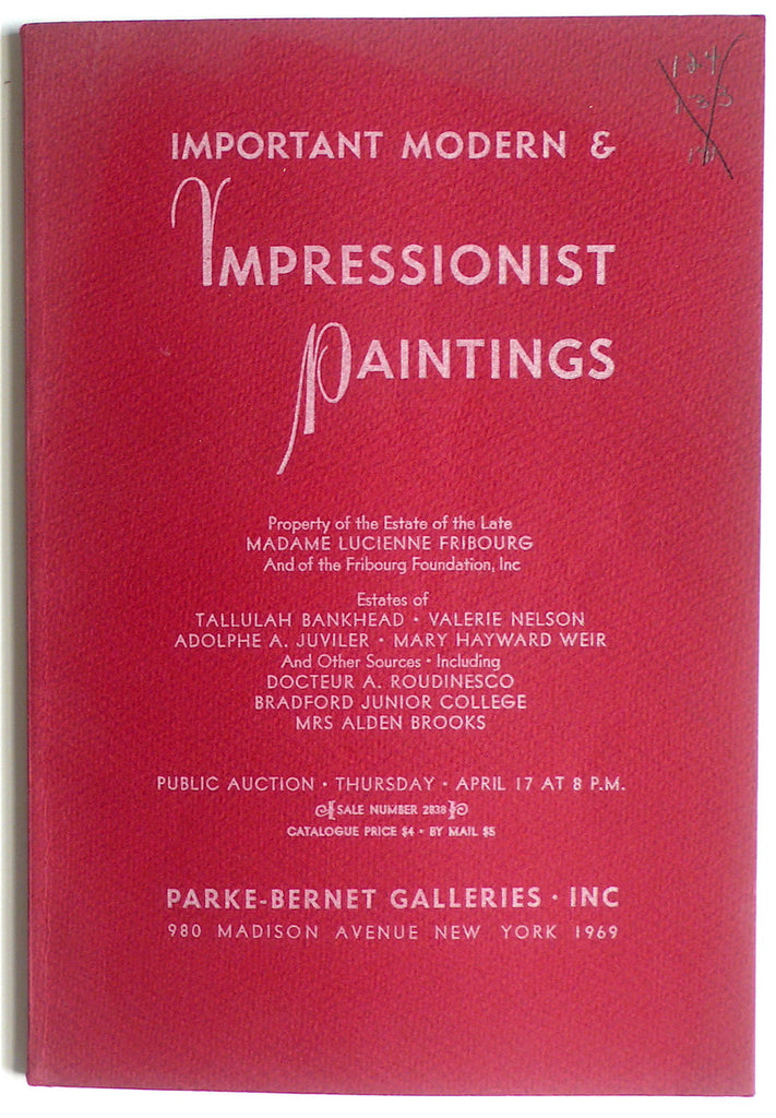 Important Modern & Impressionist Paintings/ Madame Lucienne Fribourg, Talullah Bankhead et al
