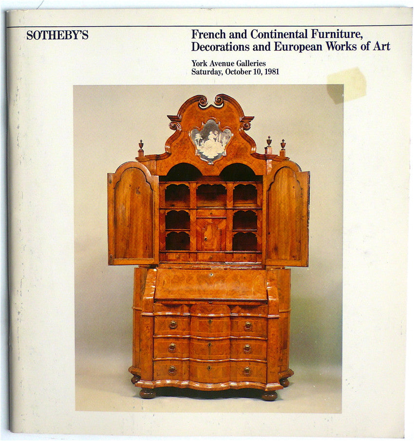 French and Continental Furniture, Decorations and European Works of Art