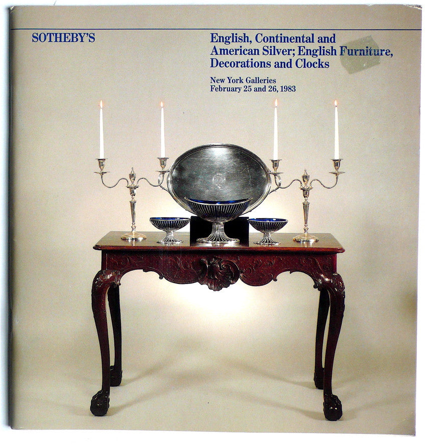 English, Continental and American Silver; English Furniture, Decorations and Clocks