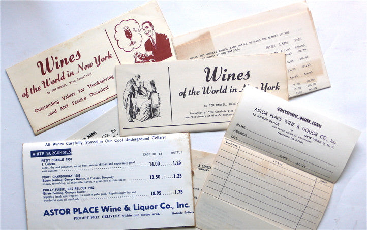 Collection of ephemera relating to wine in NYC, mostly from Astor Place Wines