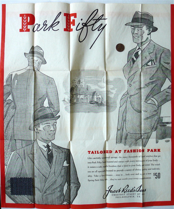 Park Fifty men's fashion poster with swatch 1930s?