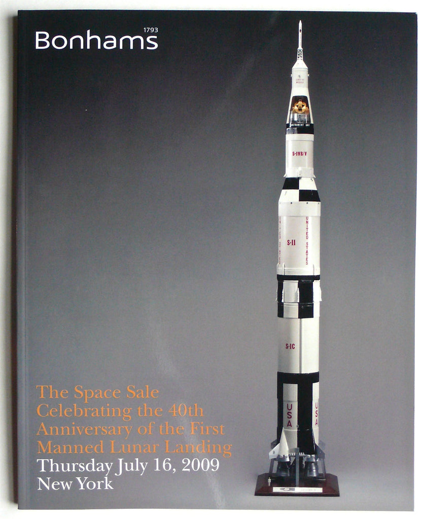 the space sale Celebrating the 40th Anniversary of First Manned Lunar Landing  Bonhams July 16, 2009
