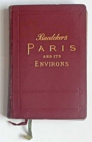 Karl Baedeker, 1924. Guide to Paris for the armchair time traveler. Attractive and interesting old guide to Paris, with many fold-out maps and plans. Marbled page edges. This copy has survived well, with light wear and some light browning here and there.