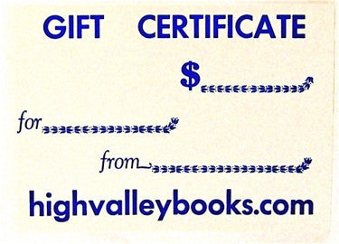 Gift Certificate from High Valley Books $100.