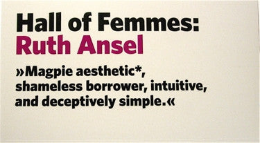 Hall of Femmes: Ruth Ansel