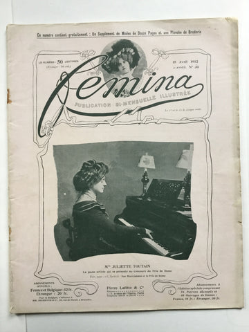 Femina 15 Avril 1902 Juliette Toutain
