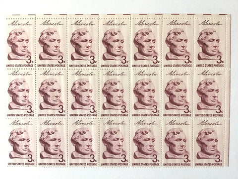Sheet of unused Abraham Lincoln stamps from 1959