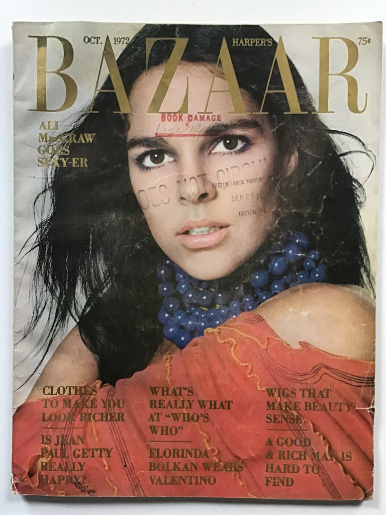 Harper's Bazaar October 1972 Ali MacGraw