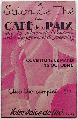 "Menu  ""The Salon de The du Cafe de la Paix"""
