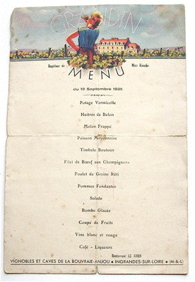 Old French Menu from a baptism