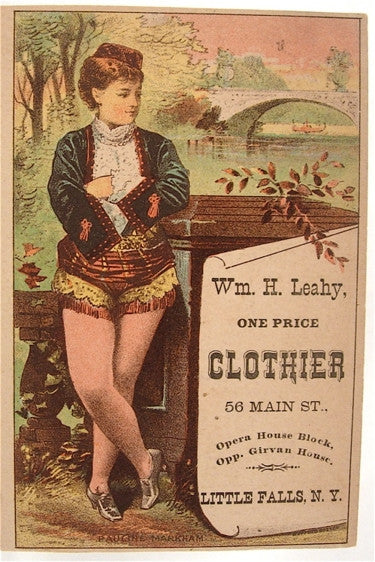 Old trade card- Wm. H, Leahy Clothier